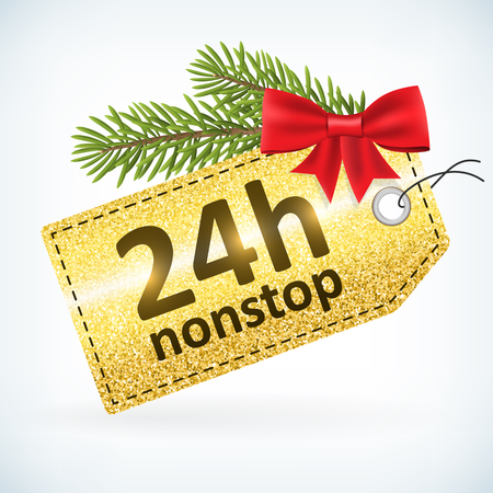 Christmas golden glitter label 24h open nonstop vector with bow and twig .Isolated from background. layered.