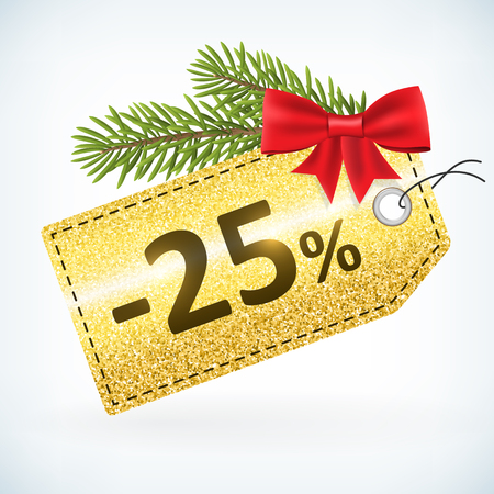 Christmas golden glitter price 25 percent sale vector delivery  with bow nd twig .Isolated from background. layered.