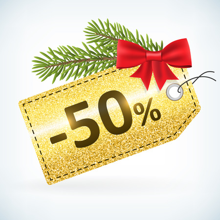 Christmas golden glitter price 50 percent sale vector delivery  with bow nd twig .Isolated from background. layered. 向量圖像
