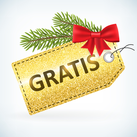 Christmas golden glitter gratis business sale vector delivery  with bow and twig .Isolated from background. layered.