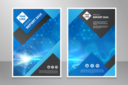 Modern annual report, brochure or book vector design template. Abstract light medical or technology background front and back side with one image.