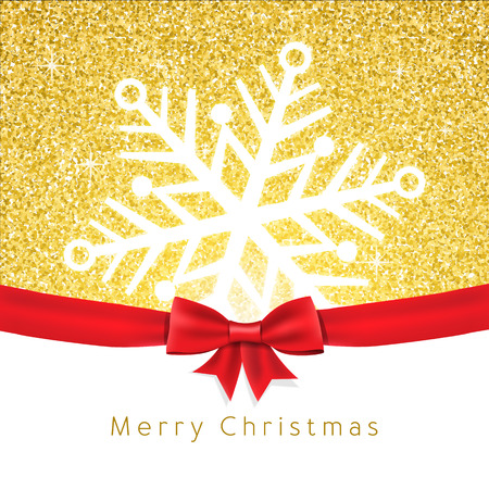 Vector christmas greeting card. Snowflake on Gold glitter shine backdrop texture with bow. Background for website or print.