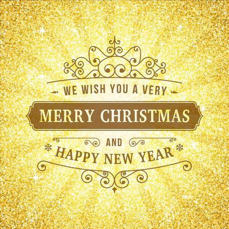Merry christmas vintage line art background. Vector greeting card. Vintage sign on gold glitter backdrop for website, banners or print design.