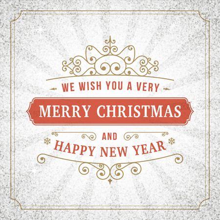 Merry christmas vintage line art background. Vector greeting card. Vintage sign on silver glitter backdrop for website, banners or print design.