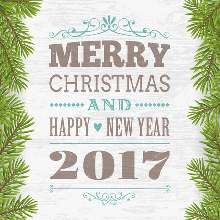 Merry Christmas and happy new year greeting card. Wood plank silver background with twig. vector illustration. 向量圖像