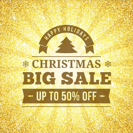 Christmas big sale offer poster vector background advertisement. Business sign on gold glitter backdrop for website, banners or print design.