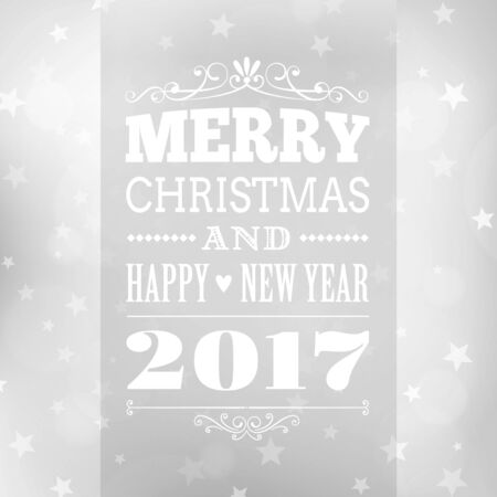 merry christmas and happy new year postcard background. vector holiday greeting card with text on blurred winter backdrop with snowflakes and stars 向量圖像