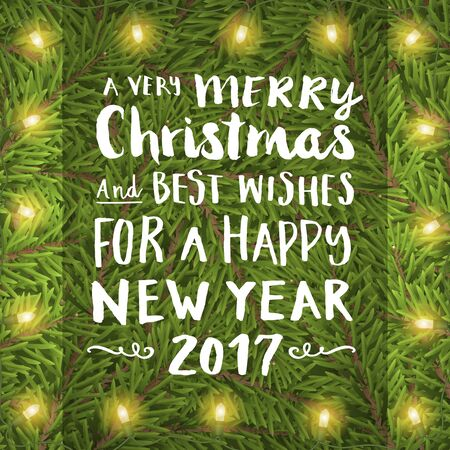 Merry christmas hand drawing text on twig background with light bulb. Vector greeting card for print or banner.