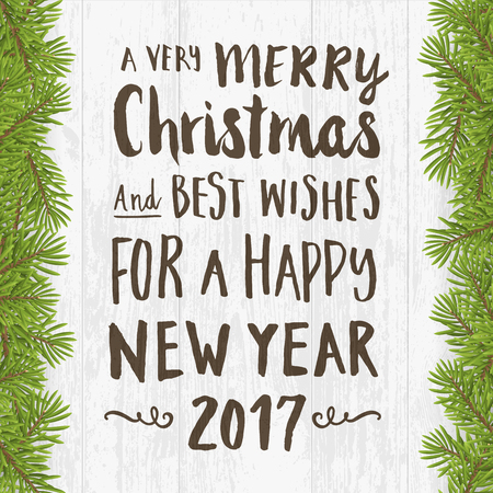 WOOD BACKGROUND: Merry Christmas and happy new year greeting card. Hand written brushed text on Wood plank silver background with twig. vector illustration.