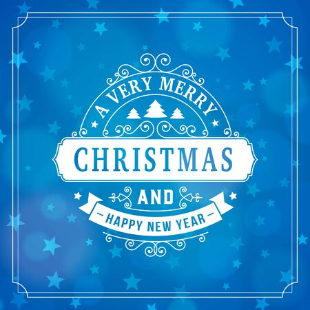 merry christmas and happy new year postcard background. vector holiday greeting card with curl sign and text on blue blurred winter backdrop with stars for print. 向量圖像