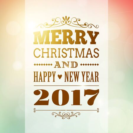 merry christmas and happy new year postcard background. vector holiday greeting card with text on blurred backdrop