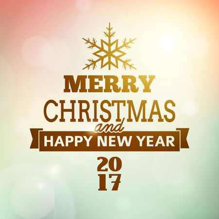 merry christmas and happy new year postcard background. vector holiday greeting card with text on blurred winter backdrop with snowflake