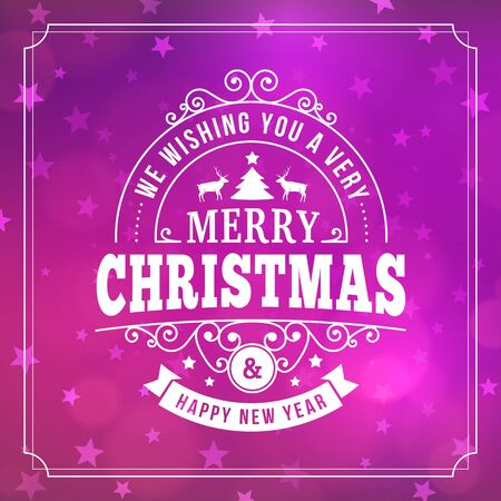 merry christmas and happy new year postcard background. vector holiday greeting card with curl sign and text on pink blurred winter backdrop with stars for print or banners.