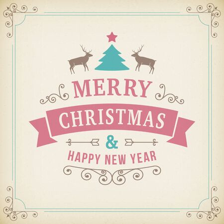 merry christmas vintage ornament on realistic paper background. vector greeting card with line art curl sign.