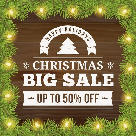 Christmas big sale offer poster vector background advertisement. Business sign on wood plank backdrop with twig and light bulbs for website, banners or print design. 向量圖像