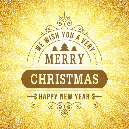 eart: Merry christmas vintage line art background. Vector greeting card. Vintage sign on gold glitter backdrop for website, banners or print design.