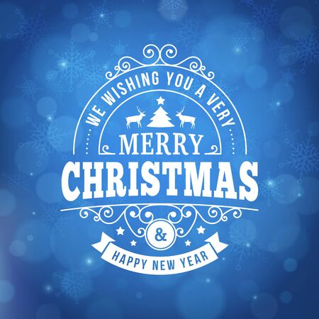 merry christmas and happy new year postcard background. vector holiday greeting card with curl sign and text on blue blurred winter backdrop with snowflake for print.