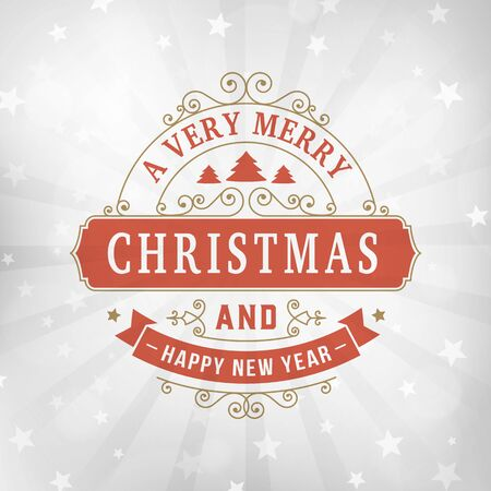 merry christmas and happy new year postcard background. Vector holiday line art greeting card on blurred winter silver backdrop with snowflakes and stars. 向量圖像
