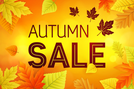 Autumn sale with colored leafs 向量圖像