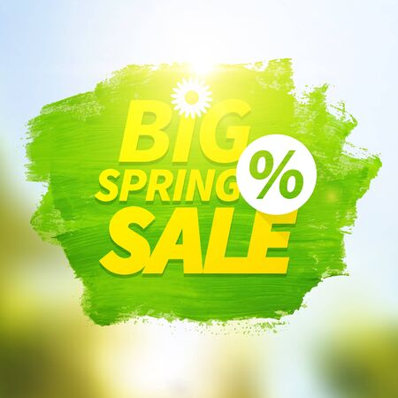 Green big spring sale poster with a percentage sign
