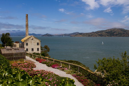 alcatraz: The Power House on Alcatraz Island with San Francisco Bay in Background