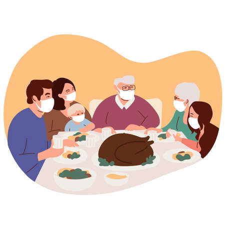 Happy family celebrates a Thanksgiving Day. Isolation during coronavirus. Turkey is on the table. People give thanks to God. Family wearing medical masks. Covid protection and isolation. Vector