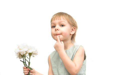 The little girl with a bouquet of carnations isolated on white Stock Photo - 2808725