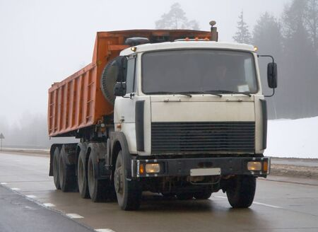 road conditions: a truck moving in the difficult road conditions Stock Photo