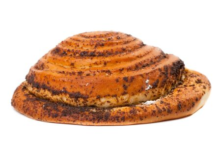 cinnamon swirl: fresh bun. isolated on white Stock Photo