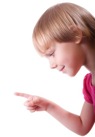 little girl isolated on white Stock Photo - 5767441
