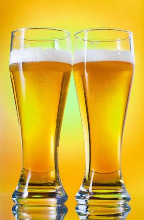 single beer: glass of cold wheat beer Stock Photo