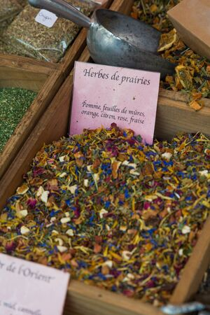 eating area: French cooking spices on farmers market stall