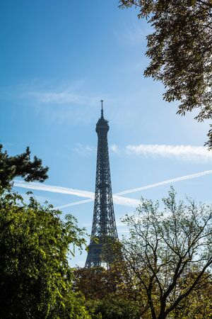 sombre: Famous Paris landmark Eiffel tower framed with tree braches Stock Photo