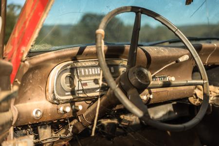 Steering wheel inside old car