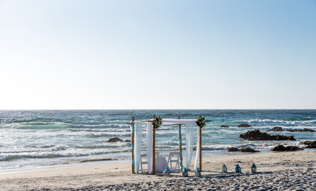couple nature: Beach altar is ready for wedding ceremony