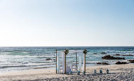 destination wedding: Beach altar is ready for wedding ceremony