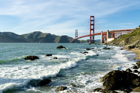 water view: Golden Gate Bridge landmark in San Francisco California USA