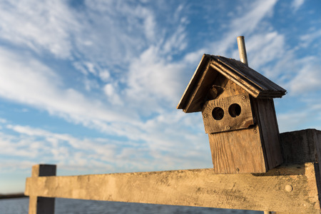nesting: Wooden nesting house mounted outdoors