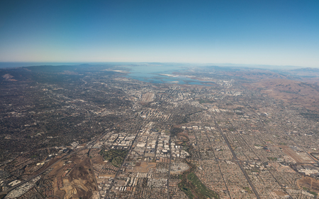 silicon: A vista de pájaro de Silicon Valley Foto de archivo