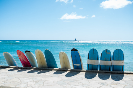 Surfing boards lined up on the Honolulu beach on Oahu, Hawaii