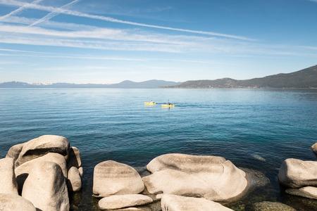 lake tahoe: People kayaking on Lake Tahoe