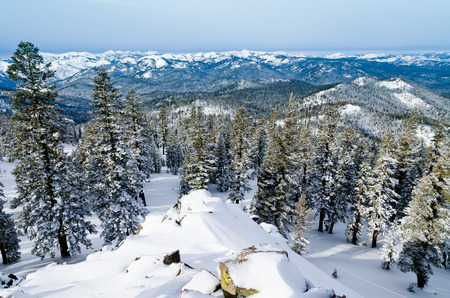 Panoramic view of Sierra Nevada from Mount Pluto at Northstar resort in Califrornia USA Stock Photo