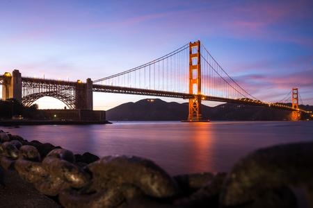golden gate: Golden Gate Bridge after sunset