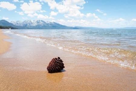 sierra nevada: Cone on the sand beach of lake Tahoe