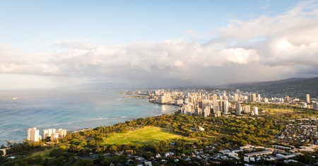 Morning light shines over Honolulu of Oahu in Hawaii