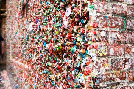 pike place market: Market Theater Gum Wall in Pike Market in Seattle Stock Photo