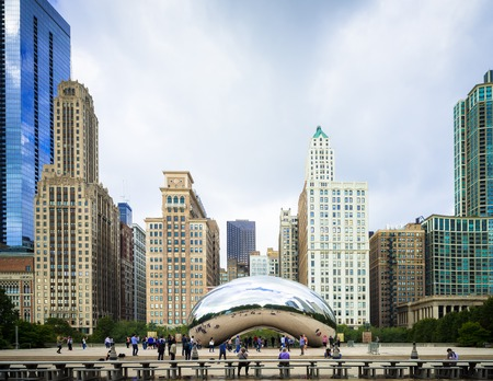 Chicago, IL, USA - October 18, 2016: Famous Cloud Gate sculpture at Millenium Square Editorial