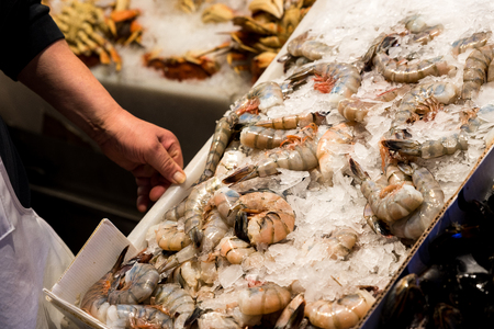 Seafood on sale at Pike Market in Seattle Stock Photo - 71475309