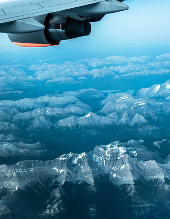 Mountains under the plane wings