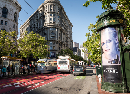 Lively traffic of Market Street in San Francisco